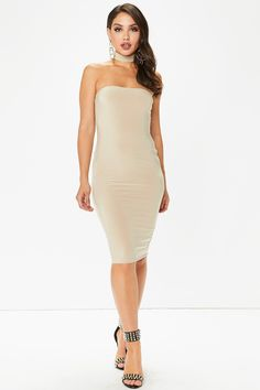 Sara Nude Bandeau Choker Neck Midi Dress from @misspap