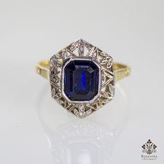 Antique Art Deco 18k Gold Diamond & Sapphire Ring