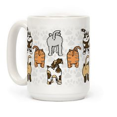 Cat Butt Pattern - Who doesn't love a cute cat pattern? And even better, a funny Cat Butt pattern. Show off your love for cats and funny patterns in your life with this cat butt pattern coffee mug! Perfect for any cat lover in your life!