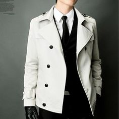 Mens Double Short trench coat (L.gray)-07
