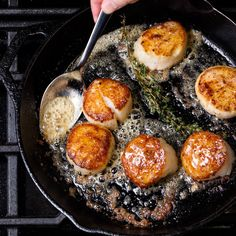 Scallops in Pan / Photo by Chelsea Kyle, food styling by Anna Stockwell Seafood Scallops, Fish And Seafood, Sea Scallops, Cooking Scallops, Recipes For Scallops, Sauce For Scallops, Fish Recipes, Seafood Recipes, Cooking Recipes