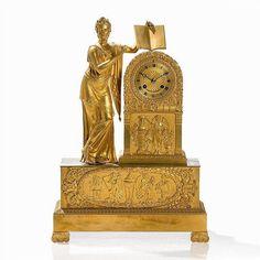 Bronze (partly gilt), brass, metal, glass <br>France, c… Mantel Clocks, Vintage Clocks, Brass Metal, Design Elements, Egyptian, Restoration, Auction, Paris, Watches