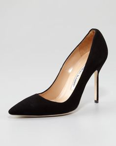 BB Suede Pump, Black by Manolo  WANT! As soon as I learn how to walk in heels.