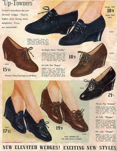 Wonderful shoe styles from the Farmer's Fashion Book Autumn & Winter wow. they r so old and unfashionable that they could be cute if worn in the right outfit! i'd consider wearing them Shoes Ads, Retro Shoes, Vintage Shoes, Vintage Outfits, 1940s Shoes, Vintage Wardrobe, Vintage Ads, 1940s Fashion, Vintage Fashion