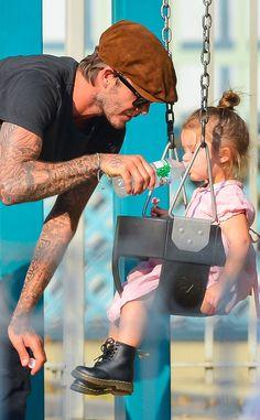 David Beckham and daughter Harper. Look af those little dr. Martens so so cute.