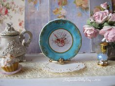 Minuet Pipes Sevres Dollhouse Plate by alavenderdilly on Etsy, $4.25