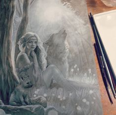 Basic values in place for acrylic underpainting. The gesso is either being super thirsty or I've gotten used to oils and forgot how quick acrylics dry. Will do another round of building values and detail in acrylic then start the colours in oils. #ampainting #underpainting #wolves #natureart #fantasyart #workinprogress