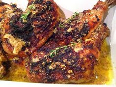 Mustard Chicken Legs 20 chicken drumsticks 1 cup of grainy Dijon mustard 1 cup of Dijon mustard 1 cup of white wine 1/4 cup olive oil kosher salt & pepper 3 shallots, minced (you can use red onion as a substitute if you don't have shallots) 15 sprigs of thyme