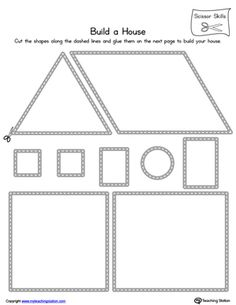 Practice scissor skills by building a house in this printable worksheet.