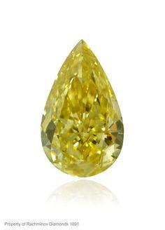 Fancy Intense Yellow pear-shape diamond
