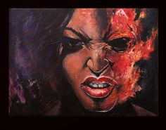 Original figural painting with acrylic on canvas by.