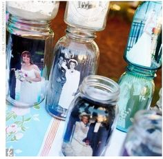 Photos in a jar.  Very inexpensive.