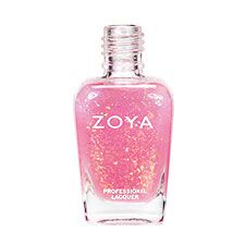 Zoya Nail Polish in Chloe - (Fleck Effect Top Coat) sheer coral pink base with two types of duochrome Mylar flakes: red-orange to gold and gold-green to blue