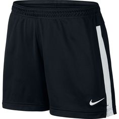 Women's Nike Dri-FIT Academy Mesh Knit Soccer Shorts ($25) ❤ liked on Polyvore featuring activewear, activewear shorts, black white, nike activewear, nike sportswear and nike