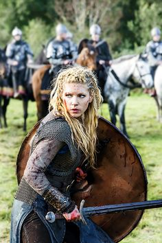 Katheryn Winnick as Lagertha - mother of Bjorn Ironside, Ragnar Lothbrok's first wife, and a strong shield-maiden - in Vikings.