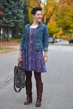 Already Pretty outfit featuring denim jacket, Liberty of London print dress, burgundy tights, Frye Vera Slouch boots, J.W. Hulme tote