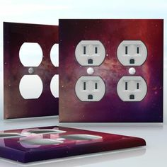 DIY Do It Yourself Home Decor - Easy to apply wall plate wraps | Purple and Red Harmony  Colorful space image, beautiful harmony of universe picture  wallplate skin sticker for 2 Gang Wall Socket Duplex Receptacle | On SALE now only $4.95