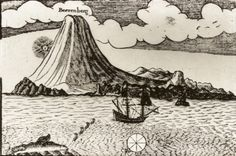 An old drawing of Jan Mayen and Beerenberg from the 17th century.