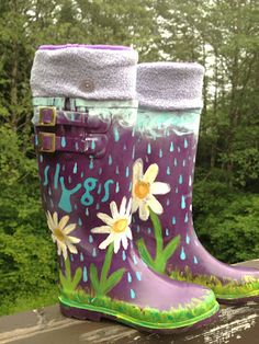 DIY: Jazz Up Your Rain Boots With A Custom Paint Job!!  Supplies: * Clean Rain boots *Paint brushes * Window cleaner  * Paper towels  *Newspaper * Acrylic paints * Clear gloss spray paint  1) Clean boots! 2) Paint 3) Clear gloss spray paint to seal and shine!
