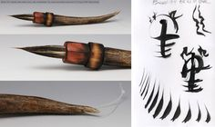long overall, Tip: moose and deer hair. long x at base. Handle: Fire carved birch with deer antler and monofilament hanger. Interesting, quirky lines are possible with this unique brush. Carol Ann, Deer Antlers, Paint Brushes, Birch, Moose, Hanger, Carving, Unique, Artist