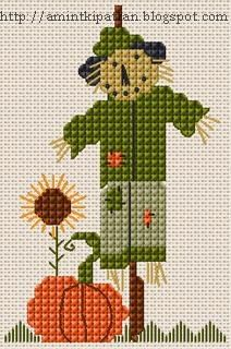 Halloween pumpkin and scarecrow cross stitch. Fall Cross Stitch, Cross Stitch Needles, Cross Stitch Cards, Cross Stitch Kits, Cross Stitching, Cross Stitch Embroidery, Funny Cross Stitch Patterns, Cross Stitch Freebies, Cross Stitch Designs