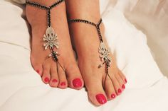 Barefoot Sandals Nude shoes Foot jewelry Goth by Themagicofcolors, $24.90