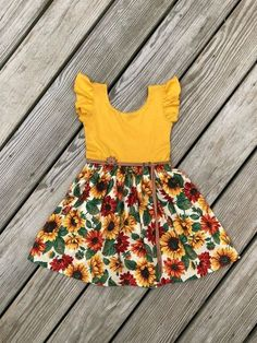 Best 12 Mustard sunflower dress / fall floral dress / flutter sleeves dress / thanksgiving baby girls dresses / thanksgiving toddler dresses/ – Page 773000723526199897 Girls Fall Dresses, Little Girl Dresses, Baby Dresses, Peasant Dresses, Dresses Dresses, Infant Dresses, Toddler Girl Dresses, Long Dresses, Dress Long