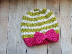 Newborn Beanie Hat in Hot Pink White and  with Pea by KnitsDuNord, $18.00