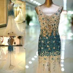 Custom made Sexy 2014 Luxury Exquisite Mermaid V-neck Beading Backless Floor-length women party gown prom dress evening dresses$337.00