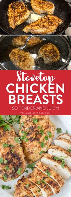 Stovetop Chicken Breasts - So tender juicy and ready in under 30 minutes makes a great weeknight dinner! via @yellowblissroad