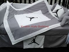Custom new MICHAEL JORDAN Crib Bedding Set 7 pieces in Grey and White  #KustomKidsBedding