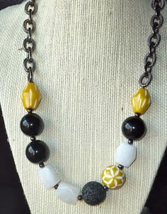 Yellow black and white beaded necklace with silver by terrygoddard, $24.00