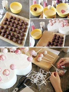 Cake popsit - Ullanunelma Cheese, Baking, Party, Food, Children, Bread Making, Meal, Boys, Patisserie