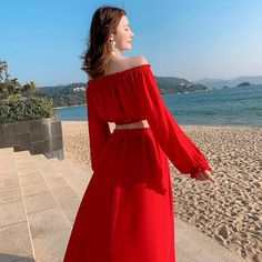Holiday Beach Dress,Seaside Holiday Beach Dress, Red Sexy Dress, Clip Shoulder Suit Two Pieces M3047 on Luulla