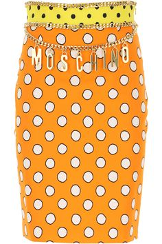 "Orange, Spring - Summer 2021, Made in Italy, Pencil Cut, Chain Detail with Dangling Moschino Logo, Zip closure on side, Polka Dots Pattern, Fully lined,  Cotton,  Elasthane, Womens Clothing: Moschino Skirt for Women, Skirts, Other Colors: Yellow, Available Sizes: 40, 42, Item Code: a01100550-2036."" Orange, Yellow, Fashion Details, Moschino, Dangles, Polka Dots, Pencil, Spring Summer, Italy"