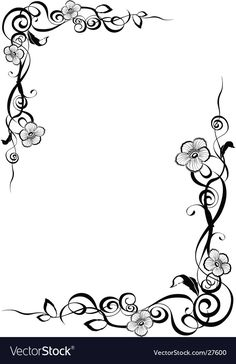 Delicate blossoms on elegant curling border borders Frame Border Design, Boarder Designs, Page Borders Design, Borders For Paper, Borders And Frames, Stencil Patterns, Embroidery Patterns, Picture Borders, Molduras Vintage