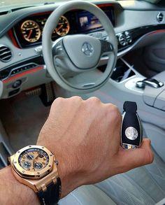 What a great shot by @gmk001 featuring an Audemars Piguet Royal Oak and a Mercedes-Benz S63 Pure class by watchfashionbible #panerai