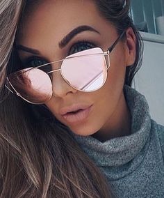 Women's Glasses Beautiful Outeye Women Cat Eye Sunglasses Tinted Color Lens Metal Frame Red Sun Glasses Reflective Mirror Female Shades Eyewear 70s 50s W4