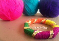 Handmade bangle by Rainbow Dazzle Gota Jewellery Silk Thread Bangles Design, Silk Thread Necklace, Thread Jewellery, Bangles Making, Jewelry Making, Gota Patti Jewellery, Ethnic Jewelry, Making Ideas, Handmade Jewelry