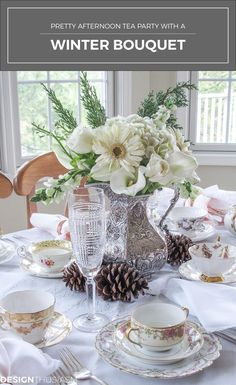An afternoon tea party is a delightful way to celebrate a winter afternoon. Here aretips to help youset a pretty table with a winter bouquet | #Designthusiasm