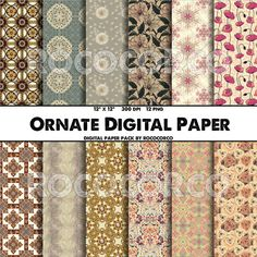50% OFF SALE  Ornate Digital Paper Pack Scrapbook by RococoRco