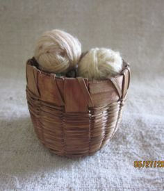 Antique Dollhouse Yarn Basket  Handwoven by angelinabella on Etsy