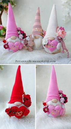 Valentine Day Crafts, Holiday Crafts, Felt Crafts, Diy And Crafts, Christmas Knomes, Diy Easter Decorations, Craft Fairs, Swedish Tomte, Scandinavian Gnomes