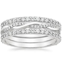 Platinum Twisted Vine Diamond Ring Stack from Brilliant Earth