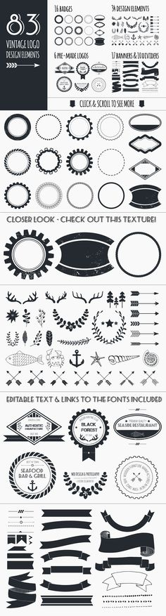 Vintage Logo Elements Bundle by Favete Art on @creativemarket