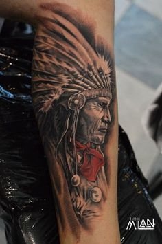 Native leg tattoo