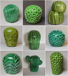 I quite like the idea of going for cactus instead of seashells and tree bark. Cactus Ceramic, Ceramic Flowers, Ceramic Clay, Ceramic Pottery, Cactus Decor, Cactus Art, Ceramics Projects, Clay Projects, Garden Totems