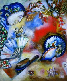 """""""Composition"""" by Marc Chagall. 1912 oil on canvas. I stared at this a good, long time trying to figure out if I liked it or just liked the colors.  In the collection of The Kreeger Museum, Washington, DC."""
