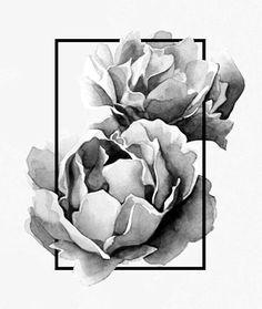 Black and white peony tattoo #tattoo #peony #peonytattoo #geometric…