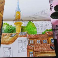 Sketch, Istanbul streets. Watercolor, Leuchtturm1917 @juliasavushkina
